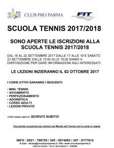 Iscrizioni Scuola Tennis 2017/2018